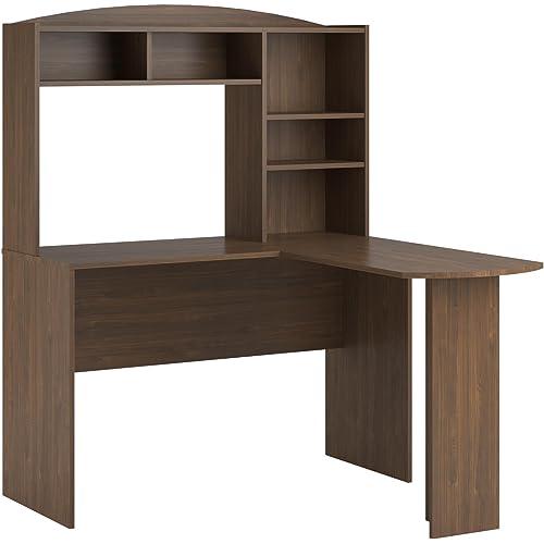 Amazon Com Ameriwood Home Dakota Space Saving L Desk With Hutch Saint Walnut Furniture Decor