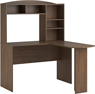 Ameriwood Home Dakota Space Saving L Desk with Hutch, Saint Walnut