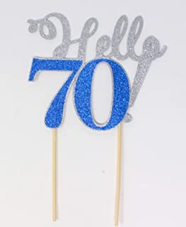All About Details Hello 70! Cake Topper,1pc, 70th Birthday, Party Decor, Glitter Topper (Silver & Blue)