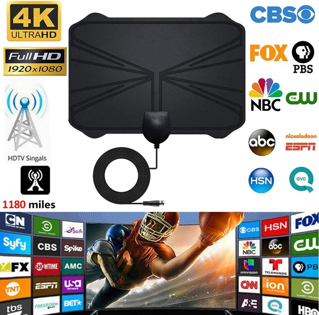 Ba30DEllylelly Antena de TV HD Alcance de 50 Millas para Interiores HDTV Antena de televisi/ón HD Antena de televisi/ón Interior para el hogar Amplio Rango de transmisi/ón