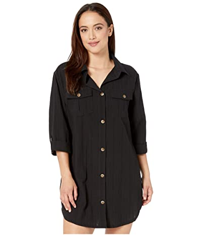DOTTI Travel Muse Shirtdress Cover-Up (Black) Women