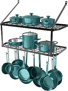 GeekDigg 29.5 Inch Wall Mounted Pot Rack Storage Shelf with 2 Tier 10 Hooks Included, Pantry Organization and Storage, Kitchen Hanging Storage Organizer (Black)
