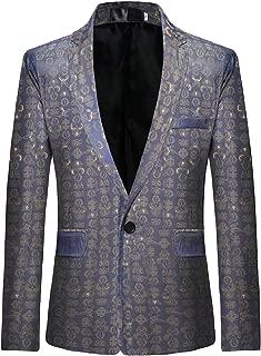 Sodossny-AU Men's One Button Printed Blazer Slim Party Blazer Jacket