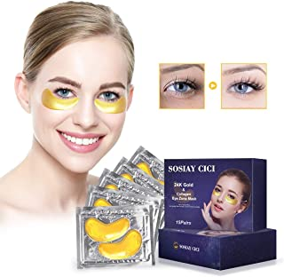 Under the Eye Gel Eye Patches - Treatment Patches for Bags & Puffy Eyes - Hydrogel Eye Pads for Dark Circles and Wrinkles - 24K Gold Eye Patches with Anti-Aging Collagen, Hyaluronic Acid, Vitamin B3 (15 Pairs)