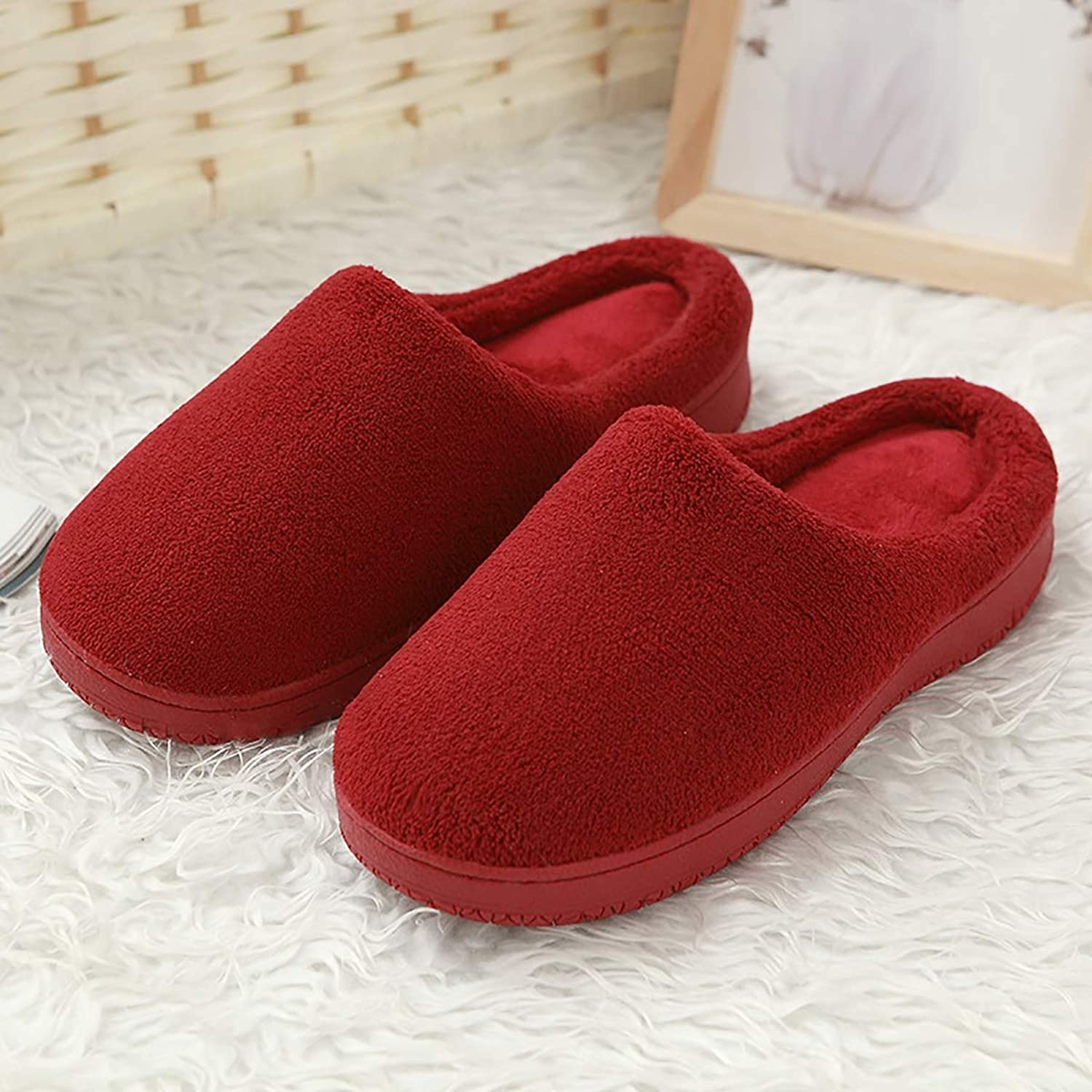 Memory Sponge Slippers Indoor Coral Velvet Cotton shoes Non-Slip Warm Washable Home shoes for Men and Women,Red,38 39