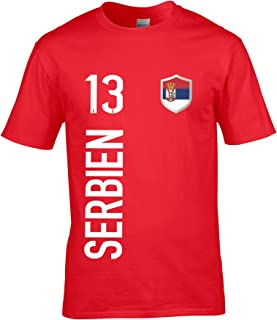 Wunschnummer WM EM Druck Wunschname u FanShirts4u Kinder Fanshirt Trikot Jersey SERBIEN Serbia Srbija T-Shirt inkl
