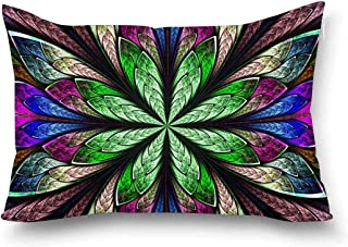 INTERESTPRINT Multicolor Beautiful Fractal Flower in Stained Glass Window Style Decorative Pillow Case Cover Queen Size 20x30 Inch, Rectangle Zippered Pillowcase Protector Home Decor