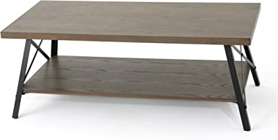 Christopher Knight Home Camaran Industrial Faux Wood Coffee Table, Grey Tone Wood / Black