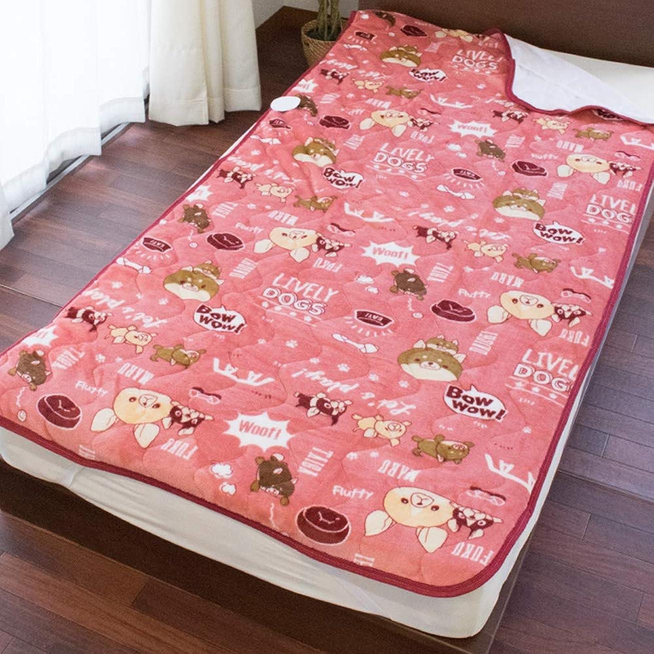 ポジション俳句匿名あったか 敷きパッド シングル 冬用 洗える 「モフトピア DOGS」 ピンク フランネル あったか 冬 かわいい 四隅ゴム付き 毛布敷きパッド 敷き毛布 100×205cm