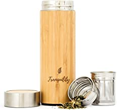 330 ml Bamboo Tea Infuser Bottle Tumbler Flask with Removable Steel Infuser Strainer Double Walled Insulated Stainless Steel Vacuum Thermos Mug for Brewing Hot Cold Loose Leaf Drinks Beverages Water Juice Coffee Anti-leak BPA Free Eco Friendly Gift