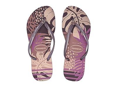Havaianas Slim Foliage Sandal (Aubergine) Women