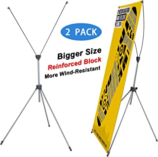 T-SIGN Reinforced Block Adjustable Tripod X Banner Stand, 23 x 63 to 31 x 71 Inch, Portable Travel Bag, 2 Pack, Bigger, More Adaptable, Trade Show Exhibition