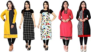 Hari enterprise Women's Cotton Straight Kurta Pack of 5