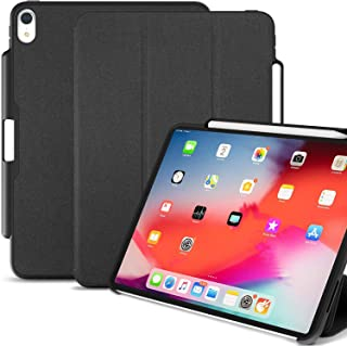 KHOMO iPad Pro 12.9 Inch Case 3rd Generation (Released 2018) with Pen Holder - Dual Super Slim Cover - Support Pencil Charging - Carbon Black