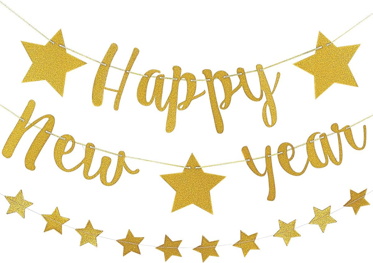 New Year/'s Eve Party Bunting Banner Rose Gold Happy New Year Happy New Year Party Decorations