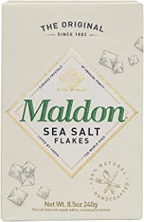 Maldon Salt, Sea Salt Flakes, 8.5 oz (240 g), Kosher, Natural, Handcrafted, Gourmet, Pyramid Crystals, 1 Pack