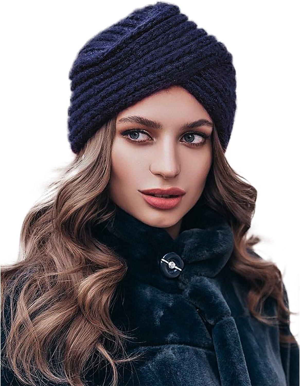 WELROG Cappello da turbante a maglia da donna Cappellino avvolgente per donna con copricapo retr/ò incrociato invernale Mucchio di tappo per il cancro/Chemo Alopecia Perdita di capelli