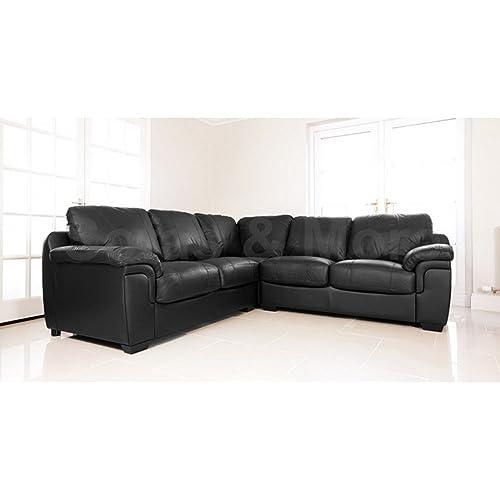 Black Leather Corner Sofa: Amazon.co.uk