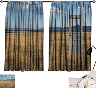Josepsh Antique Style Darkening Curtains Old Door Standing Alone in Field with Mountains Summer Sky Surreal Privacy Assured Window Treatment Blue Earth Yellow Coconut W96 x L72