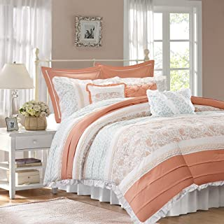 Madison Park Dawn 9 Piece Comforter Set, Coral, Cal King, California