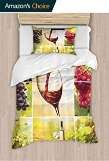 PRUNUSHOME King Size Sheets Set Habitat Collage with Pouring Wine Bottle and Leaves Harvest Time in Autumn Queen Size Sheets X-Long Twin