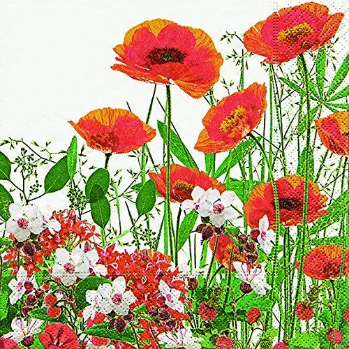 Lot de 20 serviettes de table en forme de coquelicots rouges sur vert 33 x 33 cm Motif fleurs