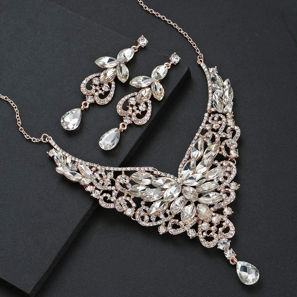 HapiBuy Bridal Jewelry Set for Women and Bride Crystal Necklace and Dangle Earrings Fit Prom Dress