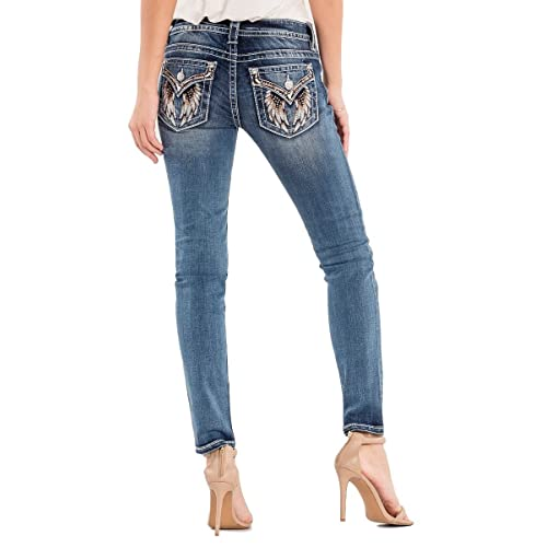 db7fd35b0c499 Miss Me Women s Mid-Rise Skinny Jeans with Wing Back Pockets