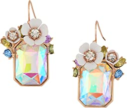 Flower Rectangle Stone Drop Earrings