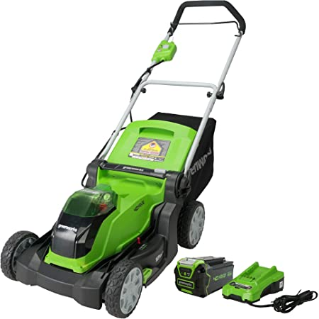 Greenworks 40V 17-Inch Cordless Lawn Mower, 4Ah Battery and Charger, MO40B411