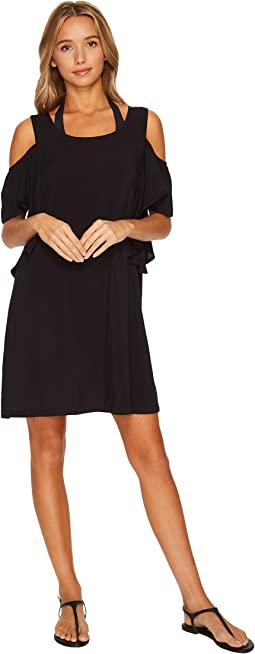 MICHAEL Michael Kors - Geometric Glamour Solids Cold Shoulder Ruffle Dress Cover-Up