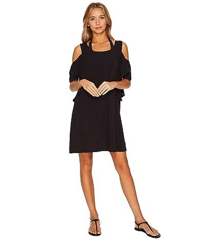 MICHAEL Michael Kors Geometric Glamour Solids Cold Shoulder Ruffle Dress Cover-Up (Black) Women
