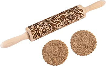 Paisley Embossed Wooden Rolling Pin,Evermarket Engraved Embossing Rolling Pin with Christmas Snowflake Flower Pattern for Baking Embossed Cookies,Cute Kitchen Tool for Kids and Adults
