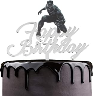 Black Panther Happy Birthday Cake Topper - Captain America Theme Marvel Fans Party Acrylic Cake Décor - Kids Adult Birthday Party Marvel Avengers Superheroes Decoration