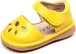 Toddler Sandals Squeaky Shoes Flower Punch Mary Jane Toddler Girl Flats (Removable Squeakers)