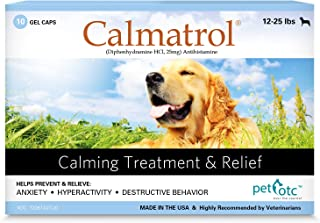 Calmatrol Pet OTC Dog Separation Anxiety & Calming Meds - Vet Approved Stress Relief Tablets for Puppy to Large K9 (12lbs +) Thunderstorm Relax & Composure Pills - Nervous Canine Relaxer Medicine