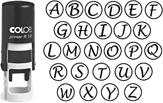 Custom A-Z Alphabet Stamp in Black Ink Monogram Round Rubber Stamp Self Inking Initial Stamp COLOP Mini Stamper 12 mm