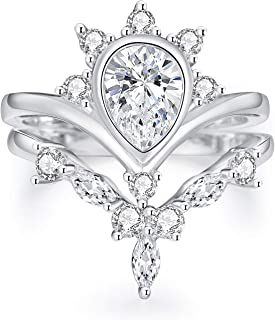 925 Sterling Sliver Wedding Ring Set Natural Diamonds Bridal Set Diamond Engagement Women Rings Sets (Size 5-11)