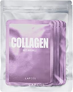 LAPCOS Collagen Sheet Mask, Daily Face Mask with Collagen Peptides for Wrinkles and Dark Spots, Korean Beauty Favorite, 5-Pack.