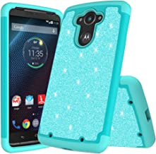 for Motorola Droid Turbo, Droid Turbo 1st Generation, XT1254 Cute Glitter Bling Sparkle Dual Layer Protective Hybrid Case with [HD Screen Protector & Free Emoji Keychain!] (Teal)