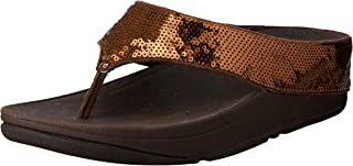 FitFlop Womens Ringer Sequin Toe-Thong Sandals