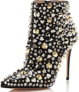 Women Fashion High Heel Ankle Boots with Rivets Pointed Toe Stilettos Zipper Shoes Size 4-15 US