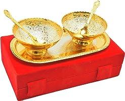 Indian Wood Floral Bowl Set - 100 ml, Pack of 2, Gold