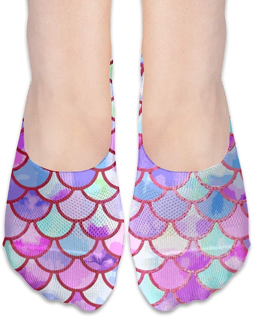 No Show Socks Women Men For Watercolor Mermaid Fish Scales Flats Cotton Ultra Low Cut Liner Socks Non Slip