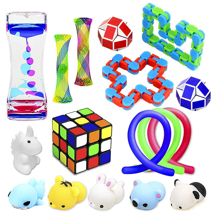 Fidget Toys Set, 17 Pack Sensory Tools Bundle for Stress Relief Hand Toys for Kids and Adults, Stretchy String/Liquid Motion/Cube/Twist Puzzle/Mesh Marble - Perfect for ADHD ADD Anxiety Autism