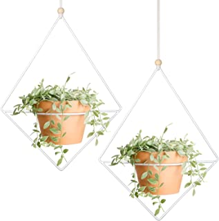 Mkono 2 Pcs Plant Hanger Metal Diamond-Shaped Hanging Planter Modern Home Decor, Fits Large 6 Inch Planter (Flower Pot NOT Included)