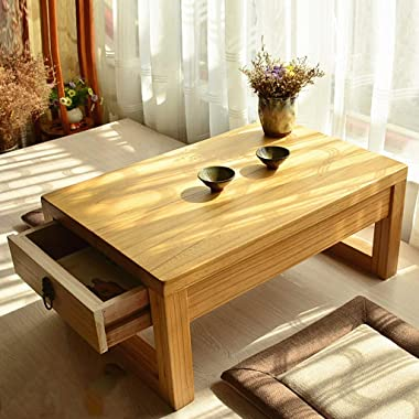 Table Coffee Japanese Drawer Solid Wood Tatami Tea Balcony Bay Window Chinese Storage Small Zen Small Tea Room Small (Size :