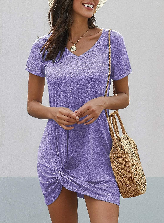 ROSKIKI Womens Summer Casual T Shirt Dress Side Knot Tank Dress