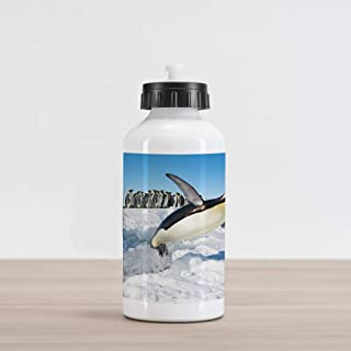 Ambesonne Penguin Aluminum Water Bottle, Penguins Pole Wildlife Swimming Flying Dancing Family Group Icebergs Antarctica, Aluminum Insulated Spill-Proof Travel Sports Water Bottle, Multicolor