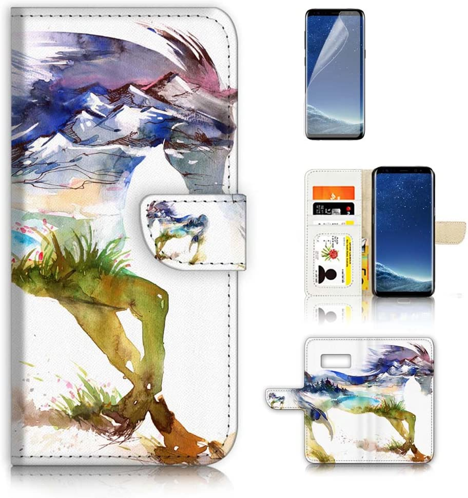 (for Samsung S8, Galaxy S8) Flip Wallet Case Cover & Screen Protector Bundle - A20275 Abstract Horse